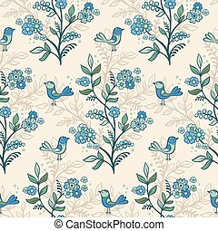 Retro romantic floral background with flowers and birds.