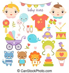 Baby icons set - Vector set of children39;s items, animals...