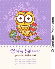 Baby shower invitation card with an owl.