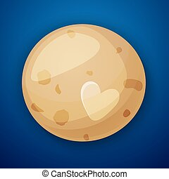 Pluto planet, space objects in cartoon style on space...