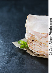 Chicken Breast Fillet selective focus on slate