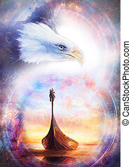historic wooden boat and eagle, painting collage.