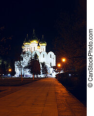 Ancient ortodox christian curch in the night in Yaroslavl