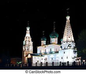 Ancient ortodox christian curch in the night in Yaroslavl,...