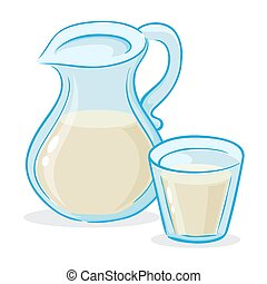 Vector Illustration of Milk Jug And a Glass of Milk