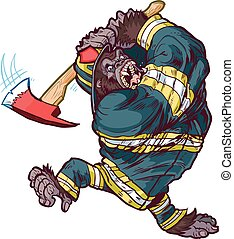 Gorilla Firefighter Swinging Axe - Vector cartoon clip art...