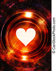 Heart and cosmic space, with light circle With light...