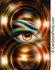 Woman eye and cosmic space, with light circle.