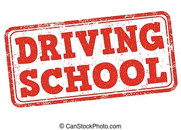 Driving school stamp - Driving school grunge rubber stamp on...
