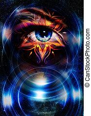 Goddess Woman eye and oriental ornamental mandala in cosmic...