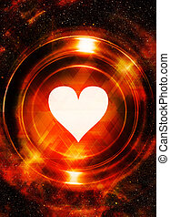 Heart and cosmic space, with light circle. With light...