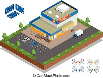 Supermarket exterior. The supermarket with parking and shopping carts. Retail trade. Credit Cards. Vector flat 3d isometric illustration.