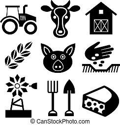 Farming black icons on white