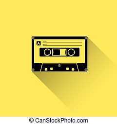 Plastic audio cassette tape. Web icon. Old technology, retro...