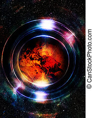 Planet earth in light circle, Cosmic Space background...