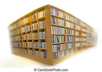 Bookshelves on white - bookshelves in library on white,...