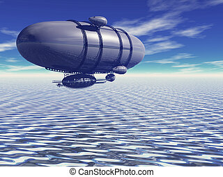dirigible - digitally rendered illustration of a dirigible