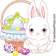 Easter Bunny - Pretty Easter bunny and basket full of eggs