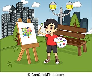 Artist boy painting on canvas