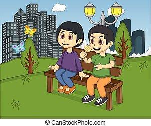 Children in the park cartoon