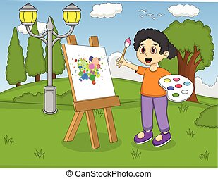 Artist girl painting on canvas