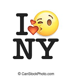 I love New York, font with sign and emoji kiss face