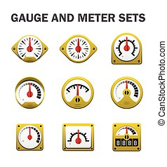 Gauge meter sets - Vector of gauge or meter sets