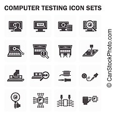Computer test icon - Computer testing vector icon sets...