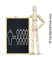 Outstanding human ability Abstract image with wooden puppet