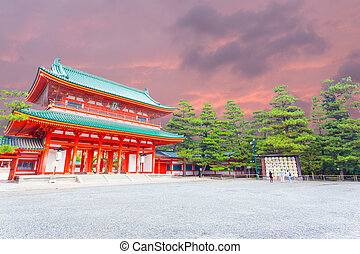 Heian Jingu Shrine Sunset Entry Gate Ro-Mon Angled - Angled...