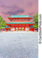 Heian Shrine Tower Gate Entrance Ro-Mon Sunset V - A...