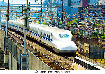 High Speed Bullet Train Middle Tracks Approaching -...
