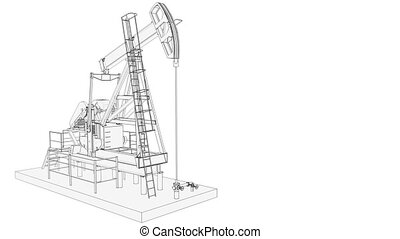 Working oil pump - High detailed silhouette of working oil...