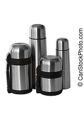 four thermos - Big and small thermoses, isolated on a white...
