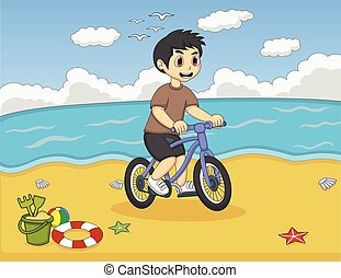 Little boy playing bicycle at beach