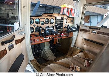 Small private plane pilot cabin