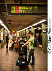 Passanger with bags waiting metro - Passanger with bags...