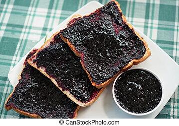 Mulberry jam breakfast bread.