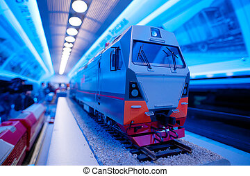 Small train model - Miniature of a modern electric train...
