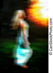 Glitch art abstract portrait of barefoot woman running on...