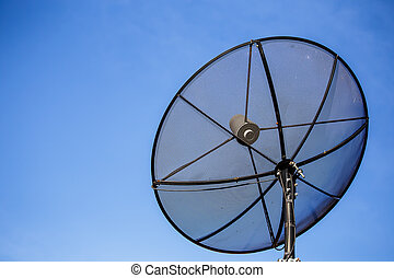 Satellite dish on the roof sky background