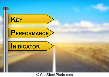 KPI or Key Performance Indicator words on yellow road sign...