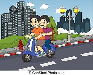 Boys Riding a scooter on the street