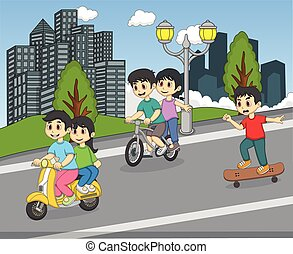 Children riding a scooter, bicycle