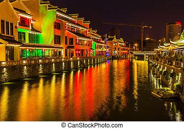 Water Canal Near Nanchang Temple Wuxi Jiangsu China Night -...