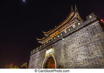 Ancient City Wall Gate Water Canal Wuxi Jiangsu China Night...