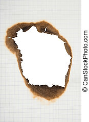 Paper with burnt hole
