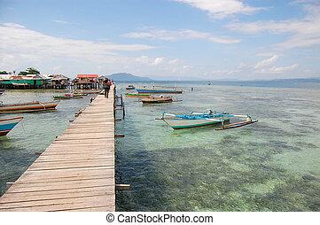 barche, appresso, lungo, villaggio, legname, banchina,