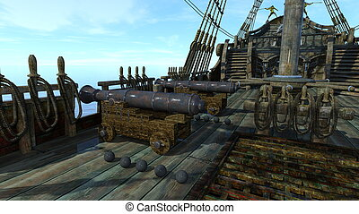 Cannon - Image of cannon and sailing boat.