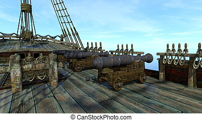 Cannon - 3D CG rendering of cannon on the boat